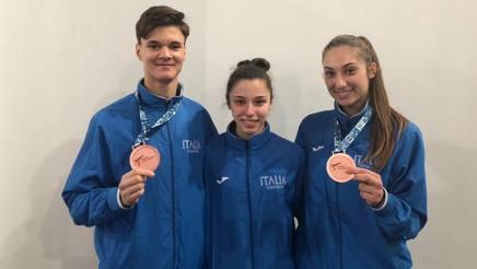 Da sinistra: Gabriele Caulo, Sofia Zampetti e Assunta Cennamo, i tre qualificati ai Giochi giovanili