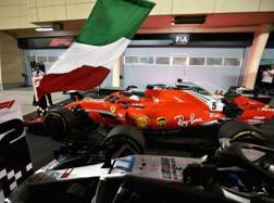 La Ferrari di Vettel vittoriosa a Sakhir. Getty