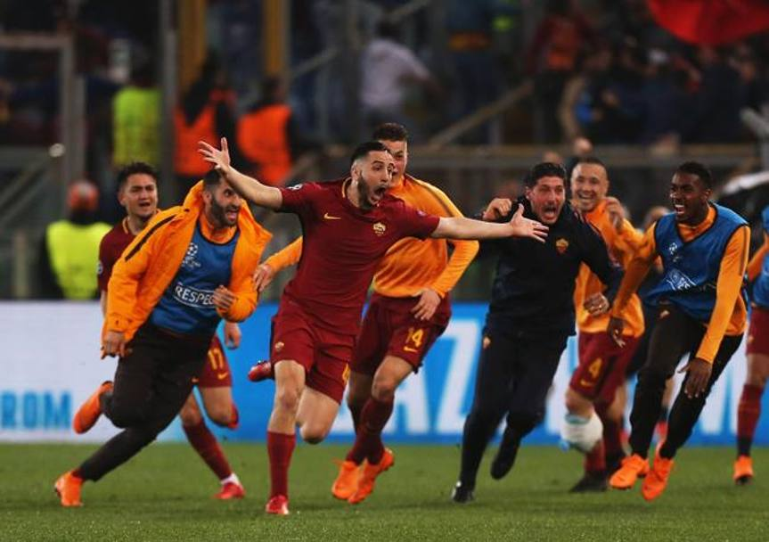 Manolas esulta, la Roma è in semifinale. Getty