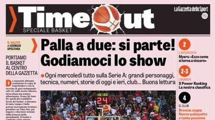 La copertina del primo numero di Time Out, inserto sulla Serie A ogni mercoledì con la Gazzetta