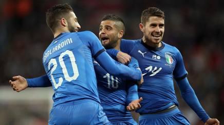 La gioia degli Azzurri dopo il gol di Insigne all'Inghilterra. Lapresse