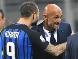Mauro Icardi e Luciano Spalletti, capitano e allenatore dell'Inter. Ansa