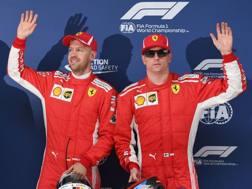 Vettel e Raikkonen dopo la qualifica in Cina.