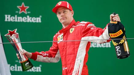Kimi Raikkonen sul podio in Cina. Getty