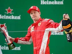 Kimi Raikkonen sul podio in Cina. Getty