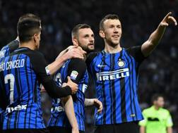 Cancelo, Brozovic e Perisic esultano. Getty