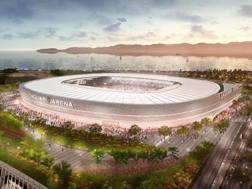 Il rendering del nuovo stadio del Cagliari.