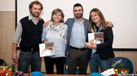 Lo scrittore Gianfelice Facchetti, il c.t. dell'Italia femminile Milena Bartolini, il sindaco di Inzago Andrea Fumagalli e la giornalista Lucia Blini