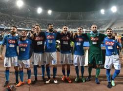 La festa dei giocatori del Napoli a fine partita. Getty