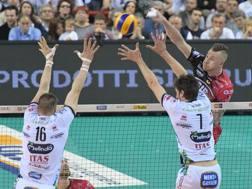 Un attacco di Ivan Zaytsev nel match vinto da Perugia su Trento BENDA