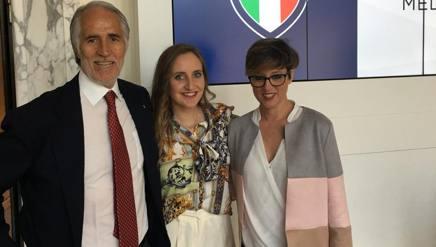 Da sin. Giovanni Malagò, Marta Pagnini e Ilaria Brugnotti. FGI