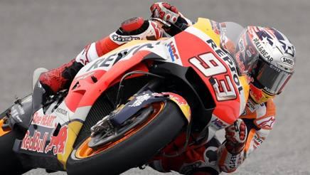 Marc Marquez in azione con la Honda. Ap