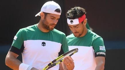 Simone Bolelli e Fabio Fognini in un'immagine di Coppa Davis. Ansa