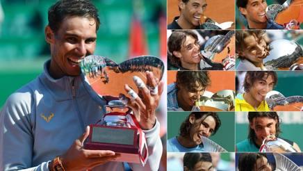 Undici sorrisi, undici trofei per Rafa Nadal a Montecarlo. Afp