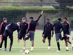 Giocatori dell'Arsenal in allenamento. Getty Images