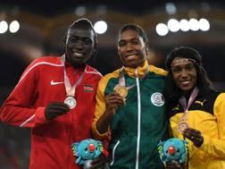 Il podio degli 800 ai recenti Giochi del Commonwealth: Wambui, Semenya e Goule. Il trionfo del testosterone. Afp