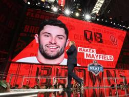 Roger Goodell, commissioner Nfl, introduce  il video sulla scelta n.1 Baker Mayfield AFP