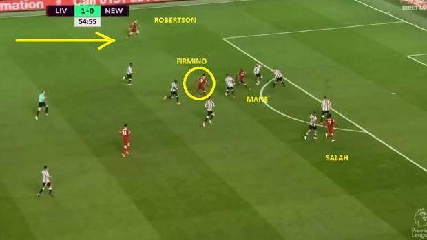 Salah e Mané attaccano l'area, un terzino sale, Firmino fa quasi il 10 (Wyscout)
