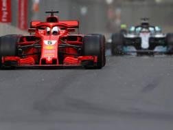 Sebastian Vettel alla guida della sua Ferrari durante il GP di Baku. Getty