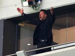 Diego Simeone in tribuna durante Atletico-Arsenal giocata ieri al Wanda Metroplitano.