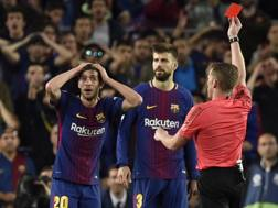 L'espulsione di Sergi Roberto. Getty Images
