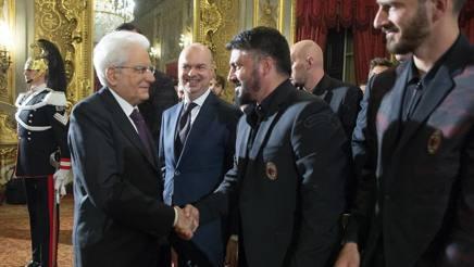 Rino Gattuso, tecnico del Milan, con il Presidente Mattarella. Ansa