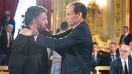 L'abbraccio al Quirinale tra Gattuso e Allegri. LaPresse