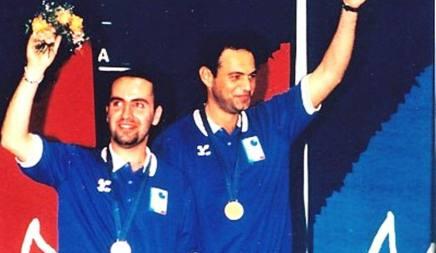 Giuliano Formicone ed Emanuele Benedetti, prima medaglia d'oro dei Giochi a Bari '97