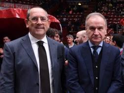 A sinistra Egidio Bianchi, presidente della Lega Basket, col presidente federale Gianni Petrucci CIAMILLO