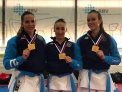 Battaglia, D'Onofrio e Pezzetti, campionesse d'Europa kata a squadra