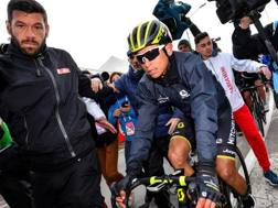 Esteban Chaves, 28 anni, stremato all'arrivo di Gualdo. Bettini