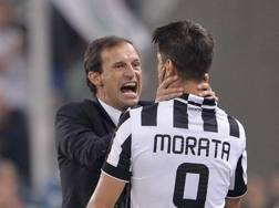 Massimiliano Allegri con Alvaro Morata. LaPresse