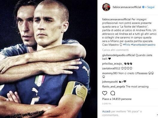Cannavaro assente, ma c'è Per Pirlo emozioni social...