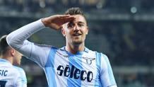Sergej Milinkovic-Savic, 23 anni, centrocampista della Lazio. Ansa