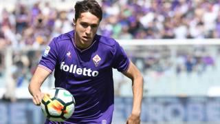 L'attaccante della Fiorentina Federico Chiesa, 20 anni. Ansa