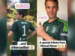 Neuer e Casillas tributo a Buffon. Foto Instagram Juventus