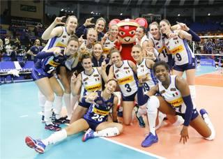 Foto di celebrazione per l'Italia. Fivb