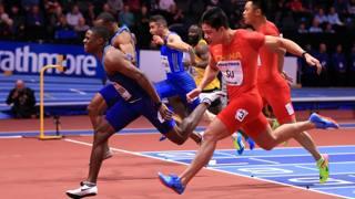 La volata vincente di Christian Coleman, 23 anni, sui 60 mt ai Mondiali Indoor di Birmingham GETTY