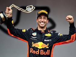 La gioia di Ricciardo sul podio di Montecarlo. Getty