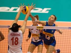 Elena Pietrini in un duello a muro con la serba Boskovic
