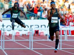 Abderrahman Samba, a destra, va a vincere i 400 ostacoli a Oslo. Afp