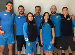 Gli azzurri con i tecnici Vincenzo Figuccio (a sin.), Cristian Verrecchia (al centro) e il fisioterapista Massimo Civada