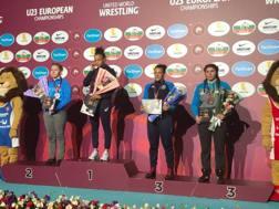 Il podio di Erica Rinaldi, bronzo nei 72 kg