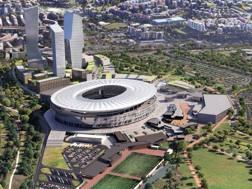 Un rendering del progetto del nuovo stadio di Roma. Ansa
