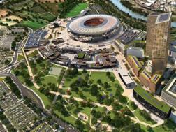 Il rendering del progetto per il nuovo stadio della Roma
