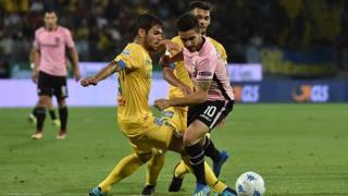 Un'immagine di Frosinone-Palermo, finale dei playoff di B contestata dai siciliani. Getty