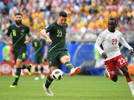 Una fase del match tra Danimarca e Australia. Afp