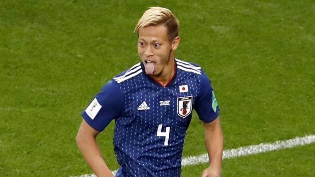 Honda esulta dopo il gol del 2-2. Epa
