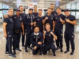 Il team azzurro alla partenza per Tarragona