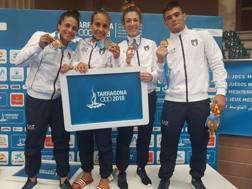 Milani, Giuffrida, Boi e Lombardo con le medaglie conquistate  ai Giochi del Mediterraneo